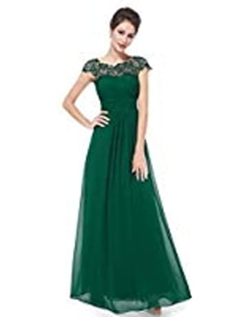 270d58b8c Ever-Pretty Womens Cap Sleeve Lace Neckline Ruched Bust Evening Gown 09993