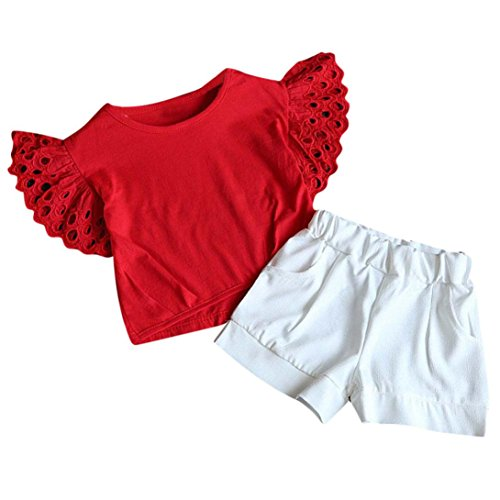 TIFENNY Baby Girl Outfit Clothes Hollow Sleeve T-Shirt+Short