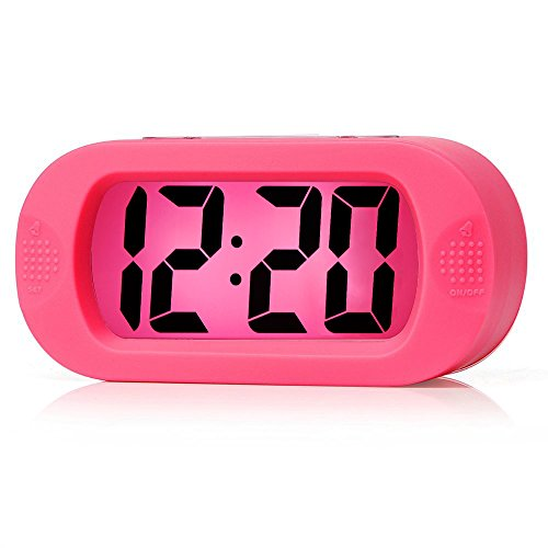 Easy to Set, Plumeet Large Digital LCD Travel Alarm Clock with Snooze Good Night Light, Ascending Sound Alarm & Handheld Sized, Best Gift for Kids (Pink) ()