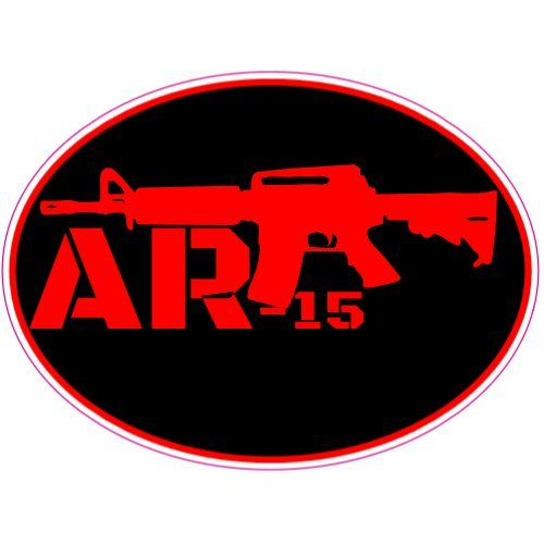 U.S. Custom Stickers AR-15 Black Red Oval Decal, 7