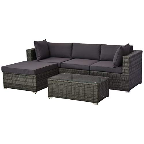 Outsunny 5-Piece Deluxe Outdoor Patio Rattan Furniture Set with Durability Comfortable Seating and a Modern Look, Grey