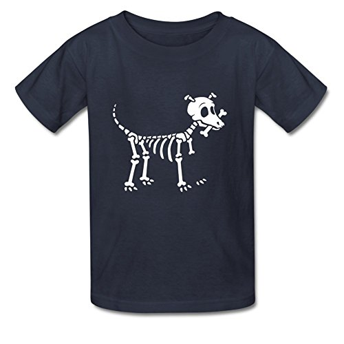 Little Tshirt Girl Dog (iCoup YangCH Little Boys Girls Kids Bone Lover Skeleton Dog Cotton T-Shirt for 6-10yr Old M Navy Blue)