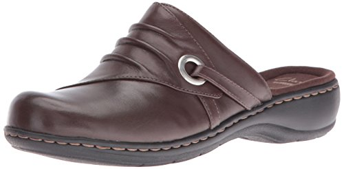 CLARKS Women's Leisa Bliss Mule Dark Brown Leather