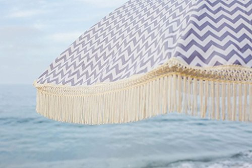 Beach Brella Regatta Beach Umbrella, with Fringe and Shoulder Strap Bag, 100% UV Sun Protection, Lightweight, Portable & Easy to Setup in The Sand and Secure in The Wind - These eye catching vintage designed patterns with amazing fringe are 100% UV protected, fade and water-resistant Less than 5 lbs, anyone can carry this lightweight, wind resistant yet highly durable umbrella. The lightweight makes it easy to set up in the sand The Best Beach Umbrella includes a super stylish, denim-carrying bag with a canvas strap for hands free walking and a cute matching pocket to store keys, cell phones & sunscreen - shades-parasols, patio-furniture, patio - 41k4QSDAHOL -