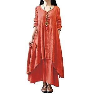 Romacci Women Boho Dress Casual Irregular Maxi Dresses Layer Vintage Loose Long Sleeve Linen Dress with Pockets
