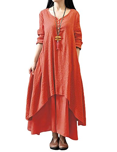 (Romacci Women Boho Dress Casual Irregular Maxi Dresses Layer Vintage Loose Long Sleeve Linen Dress with Pockets,Medium,Orange)