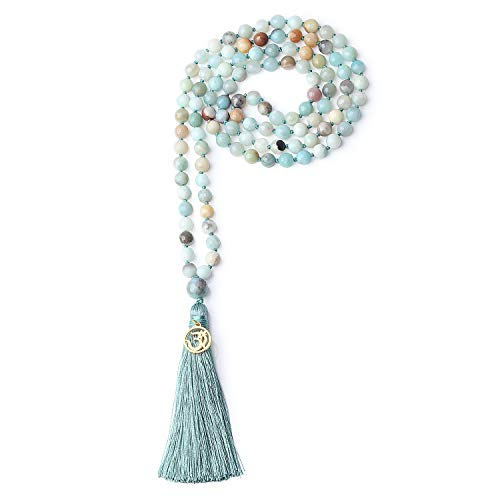 COAI OM Charm Hand Knotted Tassel 108 Mala Beads Amazonite Stone Beaded Necklace