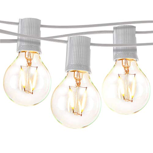 Brightech Ambience Pro - LED Outdoor Globe String Lights - Hanging 1W Vintage Edison Bulbs - Waterproof Patio Lights Create Cafe Ambience On Your Balcony - 26 Ft - - White So Cord