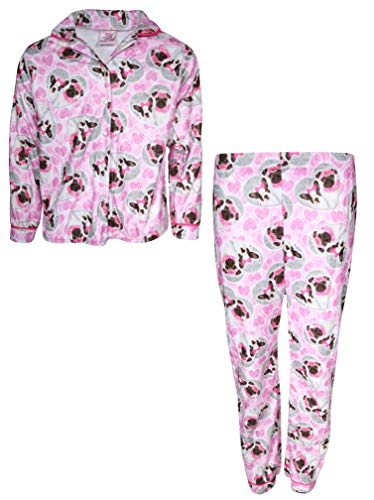 Sweet & Sassy Girls 2-Piece Photo Real Flannel Coat Style Pajama Set, Pink Dog, 5/6' ()