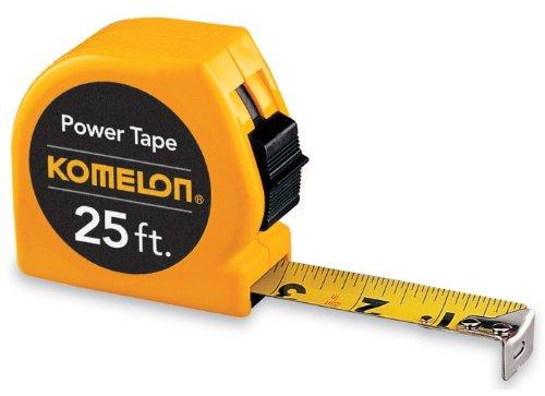 24 Pack Komelon 3925 25' x 1'' Power Tape Measure - Yellow