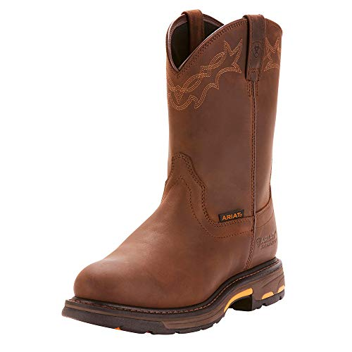 Ariat Men's Workhog Pull-on Waterproof Pro Work Boot, Oily Distressed Brown, 11 2E US