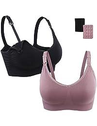 Athaelay Nursing Bra for Maternity/Breastfeeding Black Beige Purple Pink Red 1/2/ 3 Pack M-XXL
