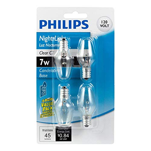 Philips 415463 Clear Night Light 7-Watt C7 Candelabra Base Light Bulb