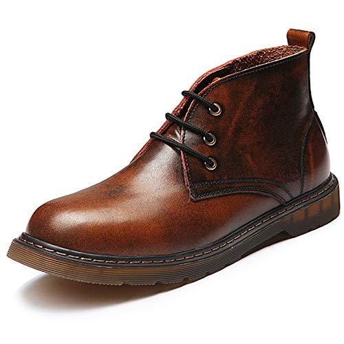 Stivali Stivali da Lavoro Stile Inglese Stivali Stile Vintage in Vera Pelle Stivali con Lacci in Pelle Martini Stivaletti Casual Brown