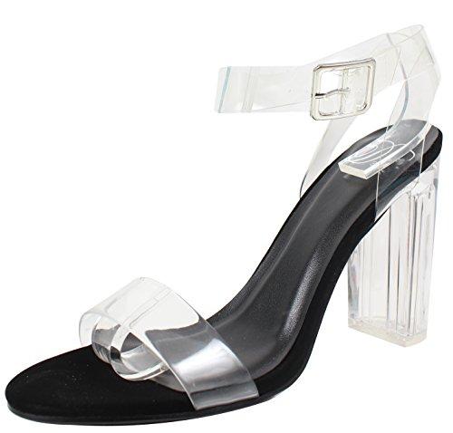 Delicious Womens Cinderella Clear Ankle Straps Perspex Lucite Clear Block Heel Sandal Black zelFi