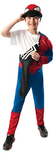 Rubie's Marvel Ultimate Spider-Man 2-in-1 Reversible Spider-Man / Venom Muscle Chest Costume, Child Small - Small One (Spiderman Venom Mask)