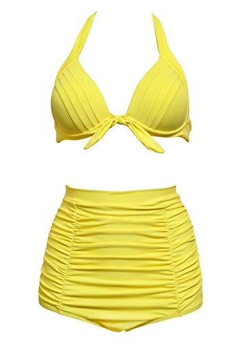 stripsky Women's Solid Color Elegant Vintage High Waisted Bikini Swimsuits Swimwear(Yellow,XXL)