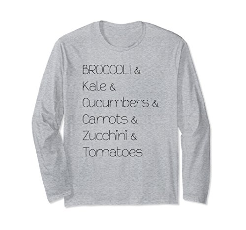 Unisex Broccoli Kale Cucumbers Carrots Tomatoes Long Sleeve T-Shirt 2XL Heather Grey