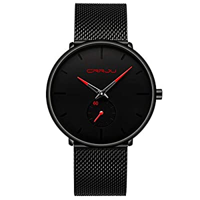 Mens Watch Ultra Thin Wrist Watches for Men Fashion Waterproof Dress Stainless Steel Band