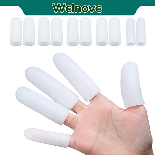 Welnove - 10 Pack Finger Protectors Gel Finger Cots | Large Size |, Softer + Thicken Finger Covers Sleeves, Great to Protect Cracked Finger, Other Finger Pain Relief