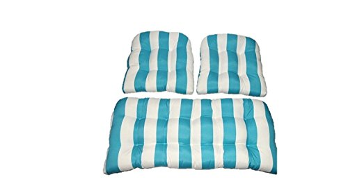 3 Piece Wicker Cushion Set - Indoor / Outdoor Wicker Loveseat Settee & 2 Matching Chair Cushions - Cancun Blue and White Stripe 2 Piece Settee