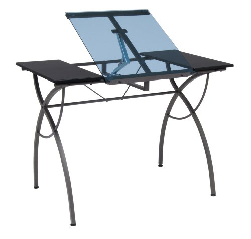 Studio Designs Catalina Craft Table in Pewter with Blue Glass 10081 by STUDIO DESIGNS INSPIRING CREATIVITY WWW.STUDIODESIGNS.COM