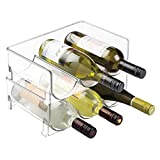 mDesign Stackable Wine Bottle Storage Rack for Kitchen Countertops, Cabinet - Holds 6 Bottles, Clear
