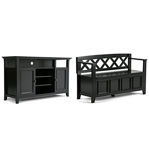 Simpli Home Amherst TV Media Stand, Black + Simpli Home Amherst Entryway Storage Bench, Black :Bundle price