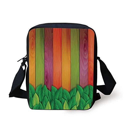 Messenger Design Decorative Background Artwork Office Retro Kids Home Bag Purse Purple On Print fresh Leaves Green Wooden Leaves Crossbody red vzgwTI