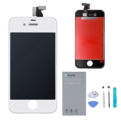 URSEND for iPhone 4S LCD Touch Screen Display Digitizer Screen Replacement Assembly with Repair Tools -White