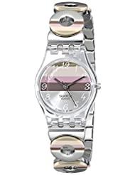 Swatch Women's LK258G Quartz Stainless Steel Silver Pink Brown Dial Measures Seconds Watch