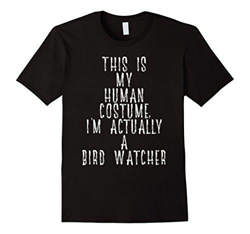 Mens My Human Costume - Bird Watcher Gift Shirt Rare Calls Sounds Large (Black Bird Costume Ideas)