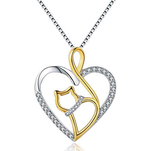 (MORANY 925 Sterling Silver Heart Cat Pendants Necklace Women's Jewelry, 18 inch / 45 cm)