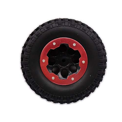 BeesClover RC CAR 4 x 100mm Air-Filled Inflated 1.9 Bead Lock Wheel Tire Terrain Mud Tread for 1:10 Rock Crawler Monster Truck Red