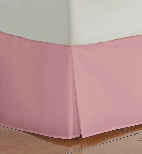 SRP Bedding Real 350 Thread Count Box Pleated Bed Skirt / Dust Ruffle Full/Double Size Solid Baby Pink 20
