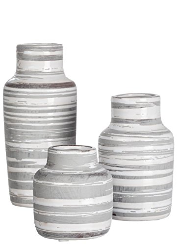 Sullivans Set of 3 Ceramic White and Gray Bottles or Vases Various Sizes