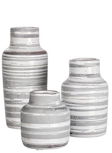 Sullivans Set of 3 Ceramic White and Gray Bottles or Vases Various Sizes ()