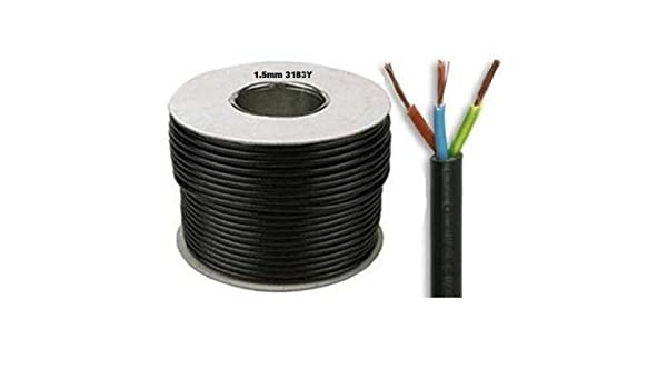 2 x 10 metros de Flex Negro 3183y 1,5 mm, 15 A, 3 Core flexible cable de color negro: Amazon.es: Hogar