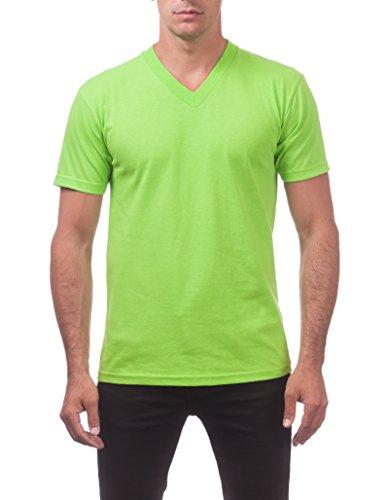 Lime Green V-neck - Pro Club Men's Comfort Short Sleeve V-Neck Tee Large Lime