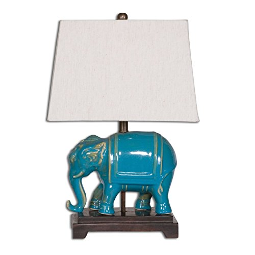 Blue Elephant Ceramic Table Lamp   Asian Oriental Turquoise