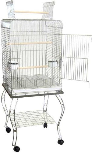 Brand New Parrot Bird Cage Cages Play W/Stand On Wheels 20x20x58-600HCHR, My Pet Supplies