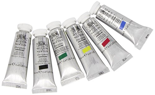 (Winsor & Newton Designers' Gouache Primary Color 6-Tube Paint Set, 14ml)