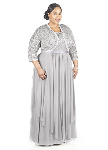 R&M Richards Women's Plus Size Formal Jacket Dress - Mother of the Bride Dress (16W, Silver)