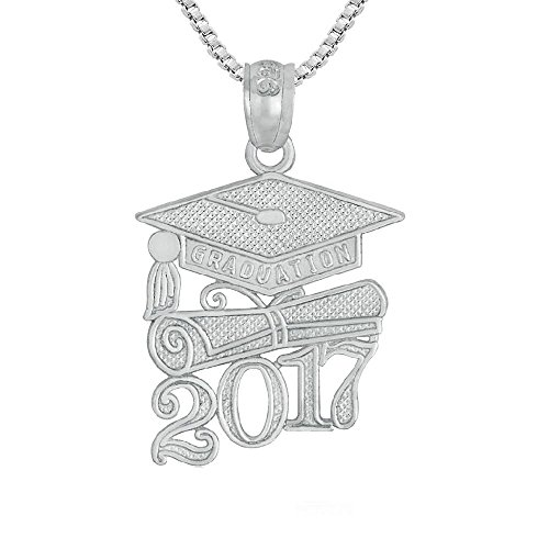 Sterling Silver 2017 Graduation Cap Diploma Charm / Pendant, Made in USA, 18