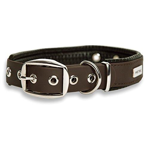 PetTec Hundehalsband aus TrioflexTM mit Polsterung, Braun, Wetterfest, Wasserabweisend, Robust