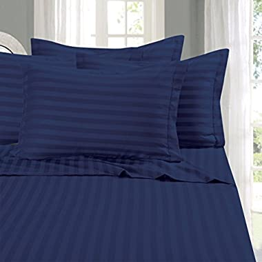 Elegant Comfort 1500 Thread Count 4-Piece STRIPE Bed Sheet Set, Queen, Navy