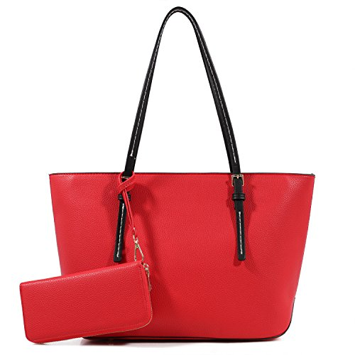Lily Jane Amber Zippered Tote Shoulder Bag with Matching Clutch Wallet - 2 Item Set (Red/Black)