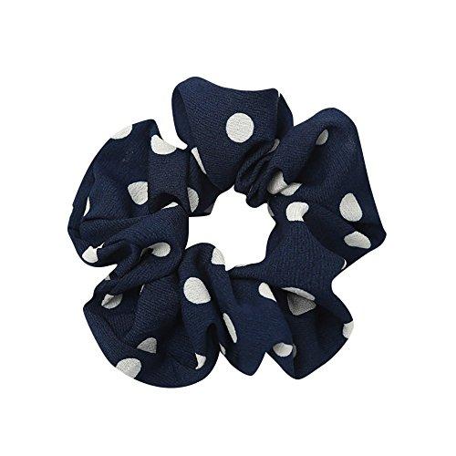 Women Podka Dots Elastic Hair Rope Ring Scrunchie Ponytail Holder Hair Band Headband (Blue)