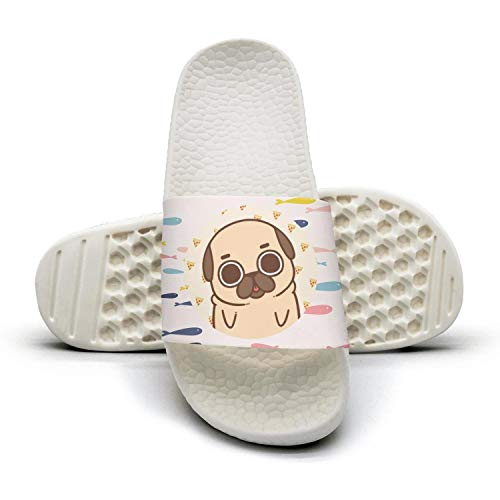 Cute pug dog pizza Mens sliders Slide Sandal