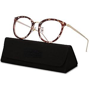 SojoS Round Women Eyeglasses Fashion Eyewear Optical Frame Clear Glasses SJ5969 (C1 Havana Brown Frame/Gold Temple, 50)